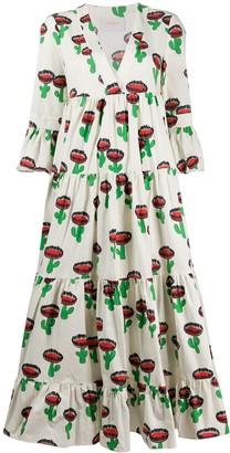 La DoubleJ Tiered Cactus Print Dress