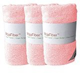 "Plush Microfiber Body/Face Cloth - Dual Action (exfoliate/cleanse): 3 Pk - 12""x12""- Soft Cleanse Side and Exfoliating Reverse Side - Remove Make up, Dirt, Oil & Dead Skin Cells, Pink"
