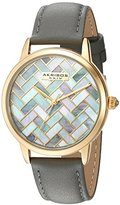 Akribos XXIV Women's Silver-Tone Mother-of-Pearl Mosaic Dial with Blue Glove Style Genuine Leather Strap Watch AK906BU
