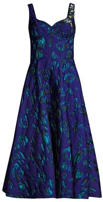Jason Wu Collection Satin Jacquard Embroidery Fit-&-Flare Dress