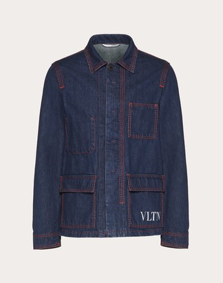 Valentino Vltn Denim Jacket Man Navy Cotton 100% 44