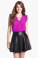 Blu Pepper Laser Cut Faux Leather Skater Skirt (Juniors) (Online Only)