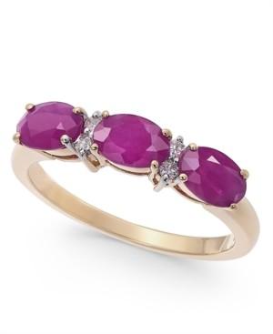 Macy's Certified Ruby (1-3/4 ct. t.w.) & Diamond (1/20 ct. t.w.) Three-Stone Ring in 14k Gold
