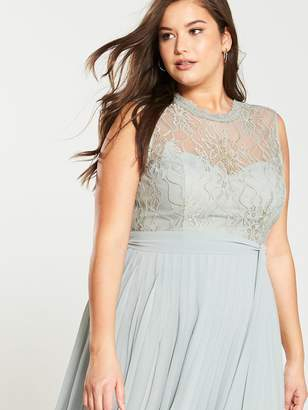 Little Mistress Curve Lace Pleated Skirt Maxi Dress - Waterlily