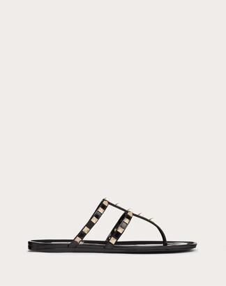 Valentino Rockstud Flat Rubber Sandal Women Black Pvc - Polyvinyl Chloride 100% 35
