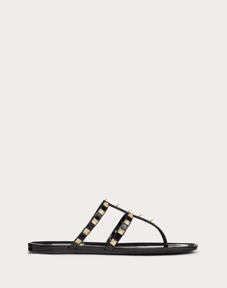 Valentino Rockstud Flat Rubber Sandal Women Black Pvc - Polyvinyl Chloride 100% 39