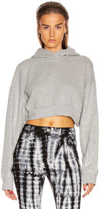 Frankie B. Kylie Crystal Sleeves Cropped Hoodie in Heather Grey | FWRD