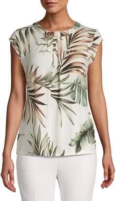 Karl Lagerfeld Paris Palm-Print Cap-Sleeve Top