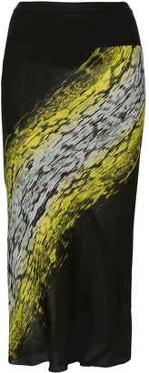 Rick Owens Abstract-Print Midi Skirt