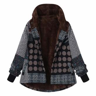 HOOUDO Womens Coat Ladies Autumn Winter Warm Fashion Casual Plus Size Hooded Long Sleeve Vintage Ladies Fleece Thick Coats Zipper Jacket Outwear(5XL