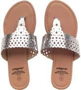 Board Angels Womens Metallic Toe Post Sandals Silver