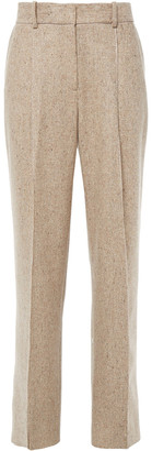 Theory Pleated Donegal Wool-blend Wide-leg Pants