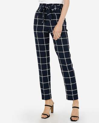 Express High Waisted Windowpane Print Sash Tie Ankle Pant