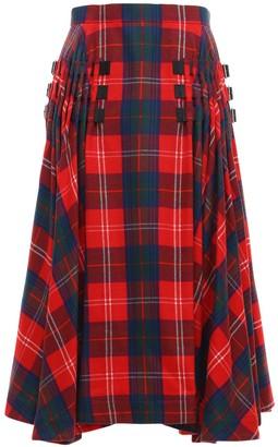 Noir Kei Ninomiya Wool Tartan Check Round Midi Skirt
