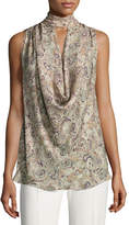 Haute Hippie Out Of Touch Sleeveless Silk Blouse, Multi