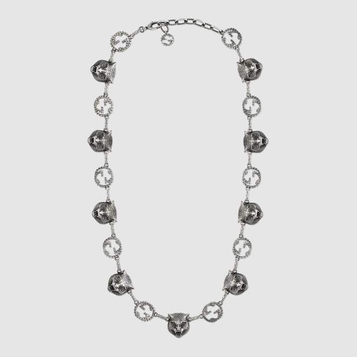 Gucci Garden feline heads necklace
