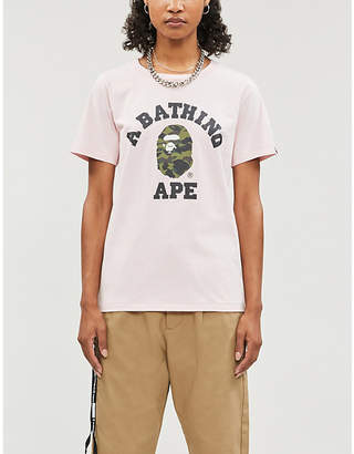 BAPE College camouflage brand-print cotton-jersey T-shirt
