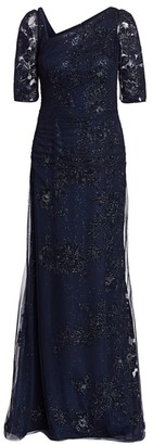 Teri Jon By Rickie Freeman Embellished Asymmetrical Lace Gown