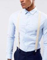 Asos Faux Leather Suspenders In Off White With Vintage Finish