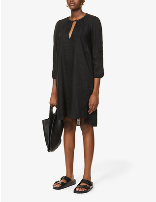 James Perse Self-tie collar linen mini peseant dress
