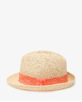 Forever 21 Lace-Trimmed Straw Fedora