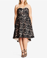 City Chic Trendy Plus Size High-Low Lace Dress