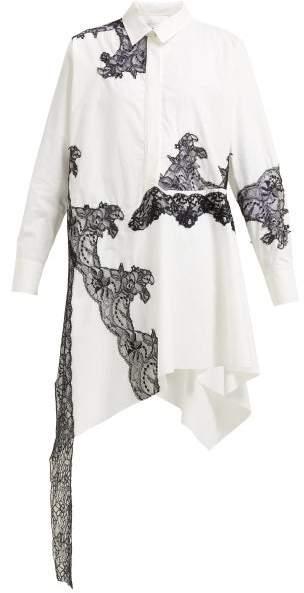 Marques Almeida Marques'almeida - Lace-insert Cotton Shirtdress - Womens - White