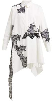 Marques Almeida Marques'almeida - Lace-insert Cotton Shirtdress - Womens - White