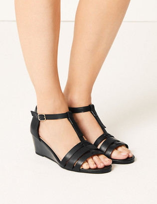 Marks and Spencer Wide Fit Leather Wedge Sandals