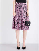 Valentino Floral mid-rise lace-lamé skirt