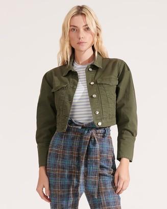 Veronica Beard Denim Army Pouf-Sleeved Jacket