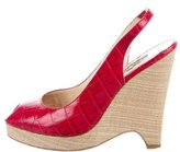 Oscar de la Renta Embossed Peep-Toe Wedges