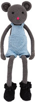 leggybuddy Crocheted Mouse Stuffed Animal, Blue