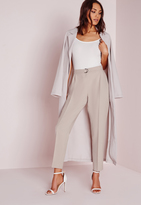 Missguided Belted High Waist Cigarette Pants Grey