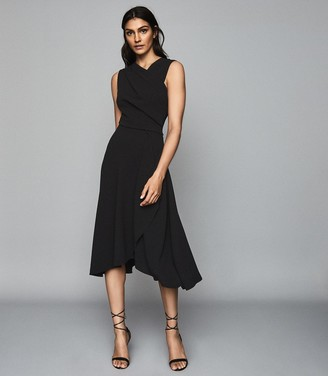 Reiss Marling - Wrap Front Midi Dress in Black