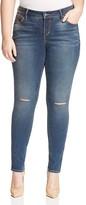 SLINK Jeans Aya Slit-Knee Skinny Jeans in Navy