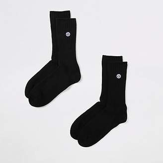 River Island Superdry University black socks 2 pack