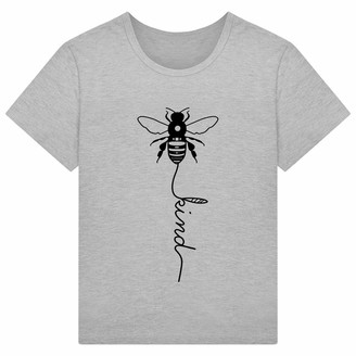 Voqeen Women's Short Sleeve Round Neck Bee Kind Printed Tee Casual Teens Girls T-Shirt Pullover Summer Blouse Tank Tops Wine Red