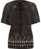 River Island Womens Black embellished cape top