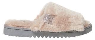 Dearfoams Womens Plush Faux Shearling Slide with Genuine Suede Trim slippers
