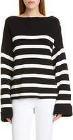 Fuzzi Stripe Rib Oversize Cotton Sweater