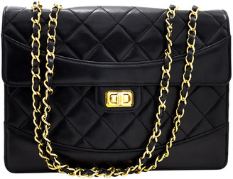 Chanel Black Quilted Leather Classic Medium Flap Shoulder Bag