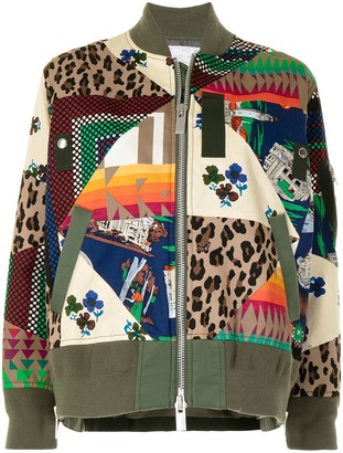 Sacai Multi-Print Cotton Bomber Jacket