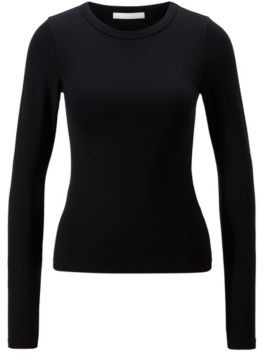 HUGO BOSS Long Sleeved Slim Fit T Shirt With Rear Slogan - Black