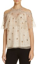 Elie Tahari Genevieve Embellished Silk Cold-Shoulder Blouse