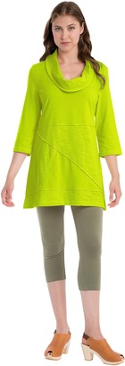 Neon Buddha Women's 100% Cotton Top Female 3 4 Sleeve Tunic with Cowl Neck and Exposed Seams