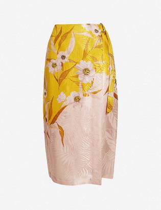 Ted Baker Hesper floral-print satin midi skirt