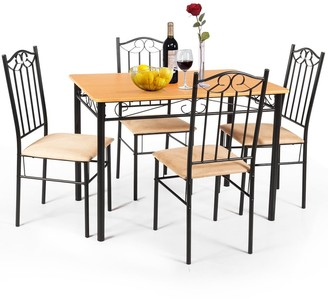 Overstock 5 PC Dining Set Wood Metal Table and 4 Chairs Kitchen Breakfast