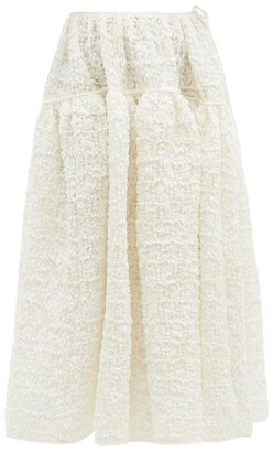 Cecilie Bahnsen Rosie Floral-smocked Crepe Skirt - Ivory