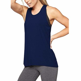 kolila Womens Yoga Tank Tops Back Running Activewear Workout Shirts Built in Shelf Bra B/C Cups Strappy for Women (Blue S)